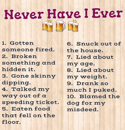 Never Have I Ever - a drinking game! How much will you ...